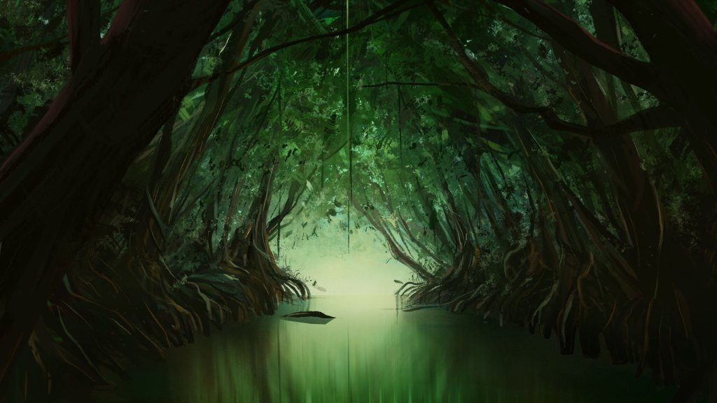 incomplete digital painting showing mangrove tunnel and a pond. digital landscpae painting, alhyari art